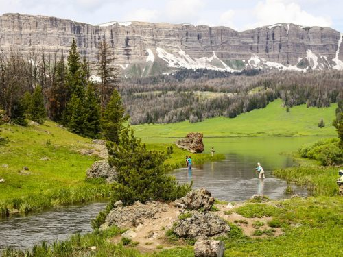 Fly fishing in the Absaroka Mountains of Wyoming