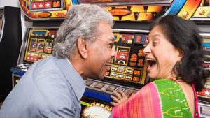 A happy couple at the Shoshone Rose Casino located near Lander, WY