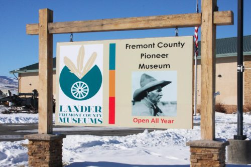 Sign for the Fremont County Pioneer Museum in Lander, Wyoming.