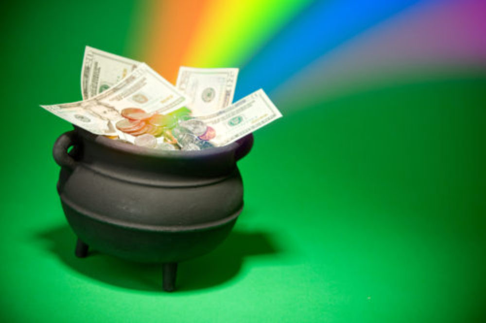Pot with cash in it and rainbow