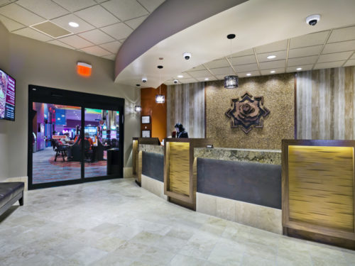 The hotel lobby and entrance to Shoshone Rose Casino in Wyoming