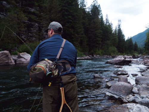 Fly fisherman tries his luck in a river near our casino in Wyoming